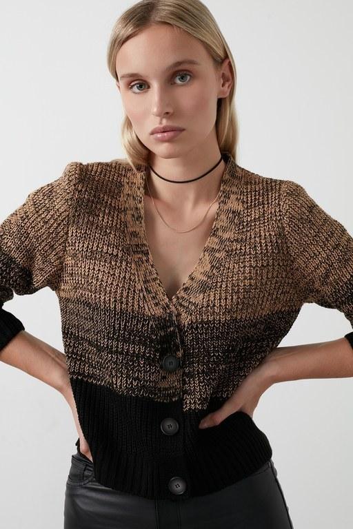 Lela - Lela % 100 Soft Akrilik Renk Bloklu Triko Örme Bayan Hırka 4615045 Camel-Siyah