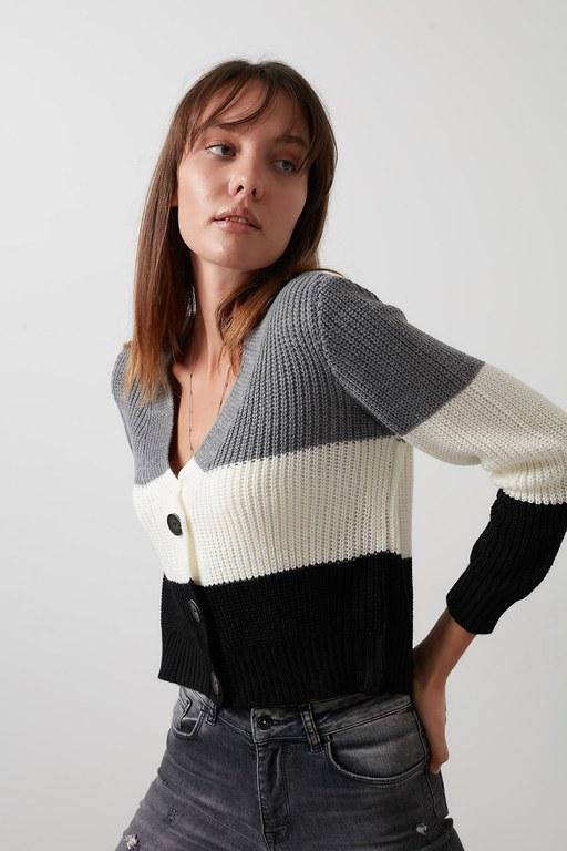 Lela - Lela % 100 Soft Akrilik Renk Bloklu V Yaka Triko Örme Bayan Hırka 4615042 Koyu Gri-Ekru-Siyah