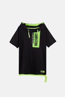 Lela - Lela Baskılı Kapüşonlu % 100 Pamuk Erkek Çocuk T Shirt 08415 SİYAH
