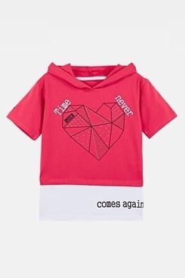 Lela - Lela Baskılı Kapüşonlu Pamuklu Kız Çocuk Body 08383 MERCAN