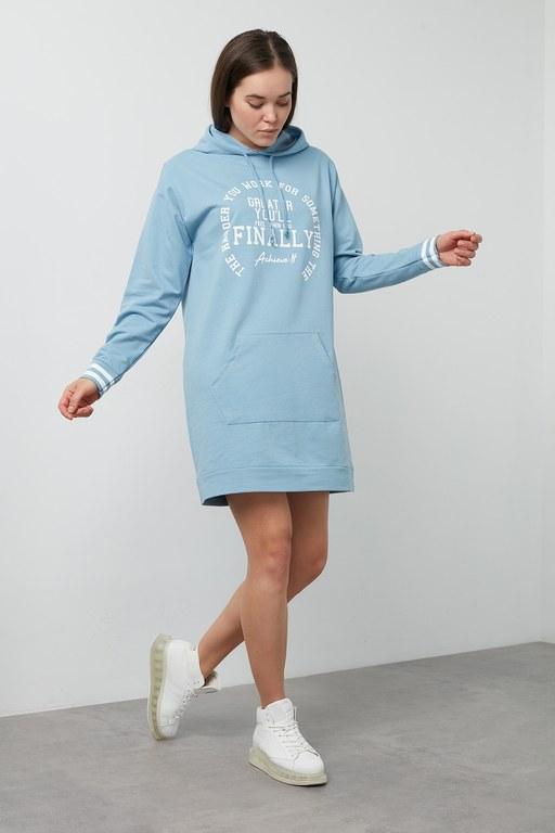 Lela - Lela Baskılı Kapüşonlu Sweat Bayan Elbise 5202014 MAVİ