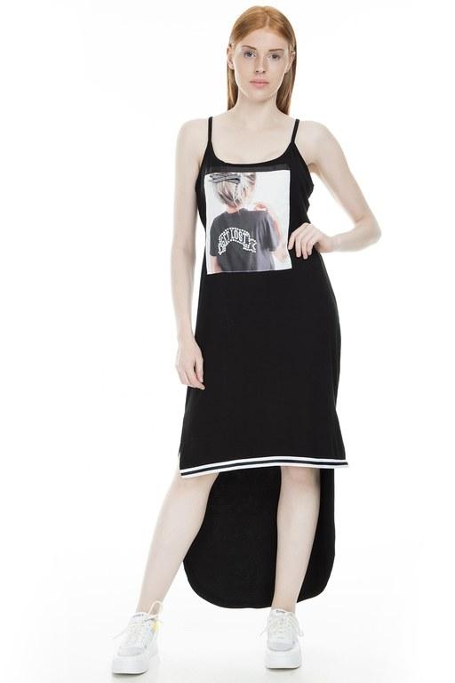 Lela - Lela Baskılı Taş Detaylı İnce Askılı Bayan Elbise 42945817 SİYAH