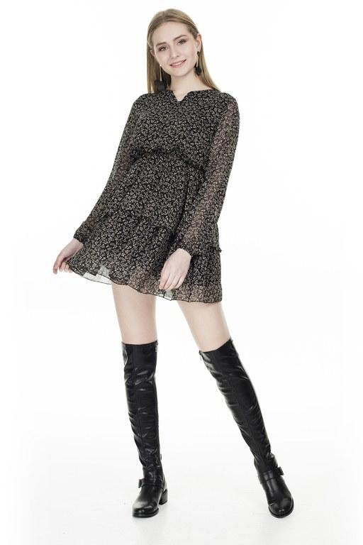 Lela - Lela Çiçek Desenli Şifon Mini Bayan Elbise 626511 SİYAH
