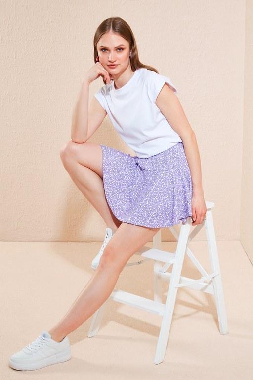 Lela - Lela Çiçekli Beli Lastikli Mini Bayan Etek 5864024 Lila-Beyaz