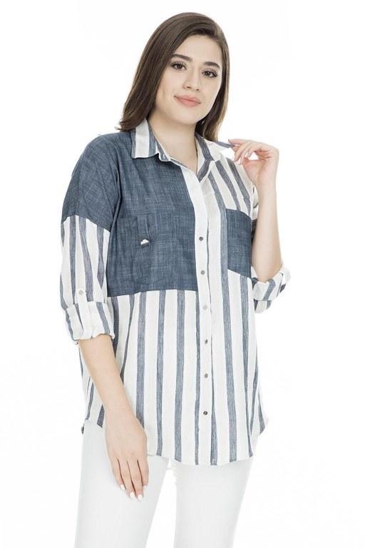 Lela - Lela Çizgili Cep Detaylı Bayan Gömlek 50370 LACİVERT-EKRU