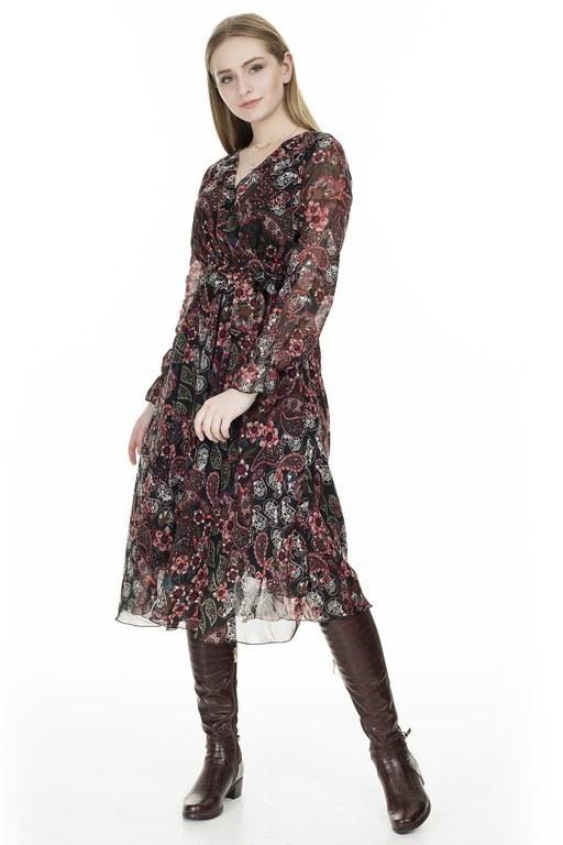 Lela - Lela Desenli V Yaka Midi Bayan Elbise 626510C BORDO