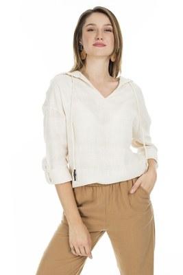 Lela - Lela Kapüşonlu Bayan Bluz 23420Y22330 NATURAL