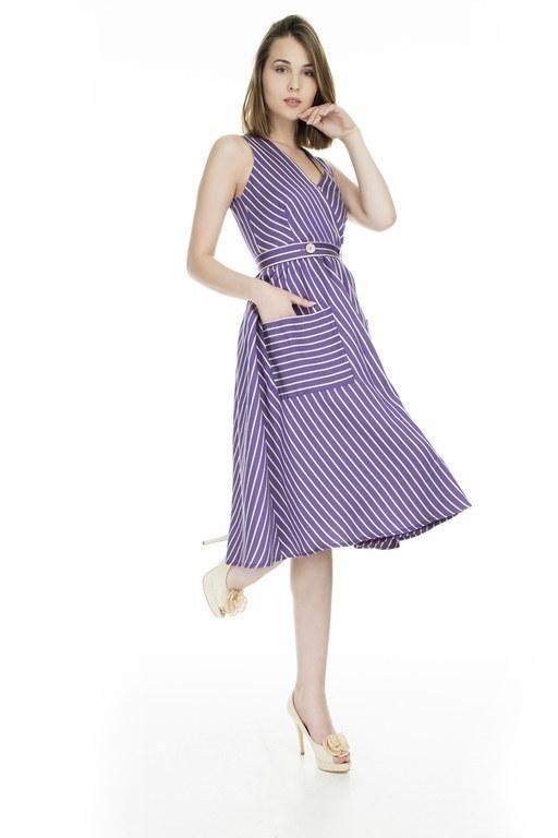 Lela - Lela Kruvaze Yaka Bayan Elbise 61047 MOR