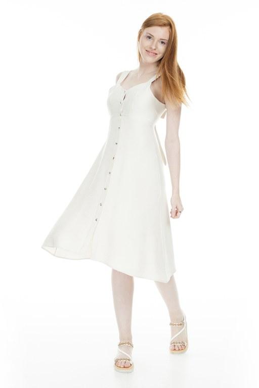 Lela - Lela Önü Düğmeli Bayan Elbise 23430890 BEJ