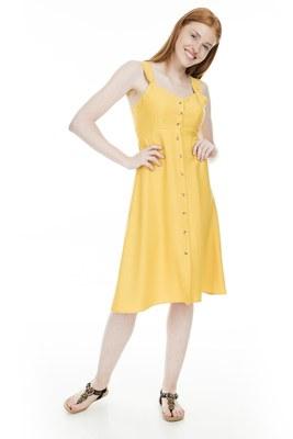 Lela - Lela Önü Düğmeli Bayan Elbise 23430890 HARDAL