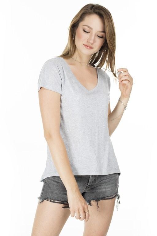 Lela - Lela Önü Kısa Arkası Uzun Bayan T Shirt 5411014 GRİ