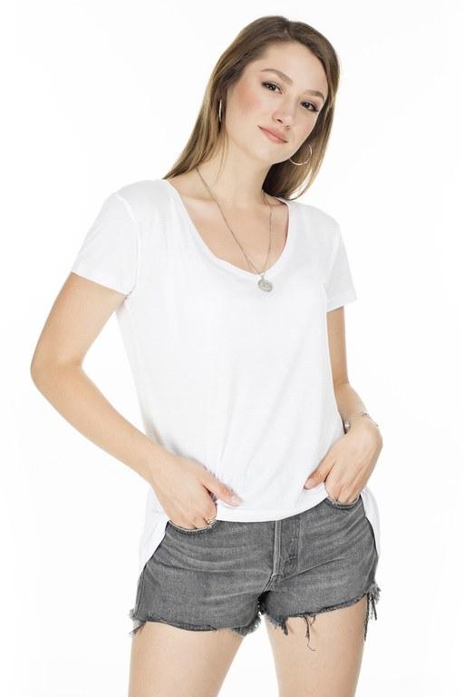 Lela - Lela Önü Kısa Arkası Uzun Bayan T Shirt 5411014 BEYAZ