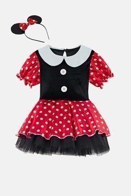 Lela - Lela Taçlı Puantiyeli Minnie Mouse Kız Çocuk Elbise 5805054 SİYAH-KIRMIZI