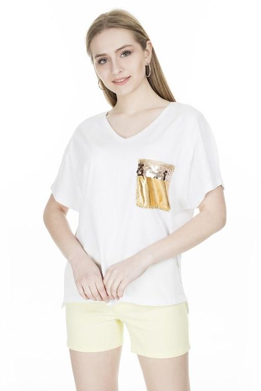 Lela - Lela Tek Cepli V Yaka Bayan T Shirt 513982 BEYAZ