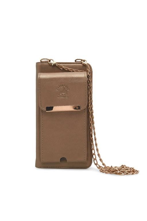 Lela - Lela Telefon Bölmeli Zincir Askı Detaylı Bayan Cüzdan 569333 GOLD