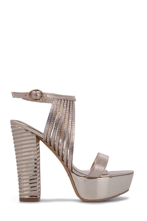 Lela - Lela Topuklu Bayan Abiye Ayakkabı 50872 GOLD