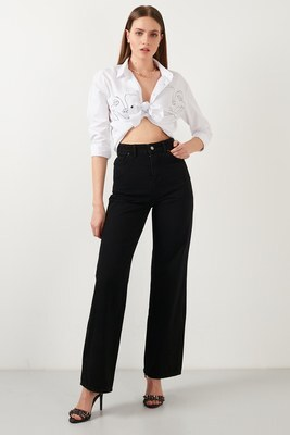 Lela - Lela Yüksek Bel Geniş Paça Pamuklu Jeans Bayan Kot Pantolon 5876041 SİYAH